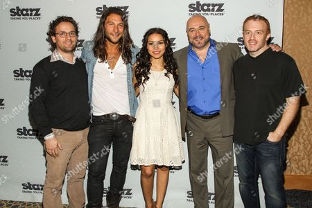 """L-R) Co-creator Robert Levine, Actors Zach McGowan, Jessica Parket Kennedy, Mark Ryan, and co-creator Jon Steinberg attend the """"Black Sails"""" press line on Day 3 of 2013 Comic-Con International Convention on in San Diego, Calif"""