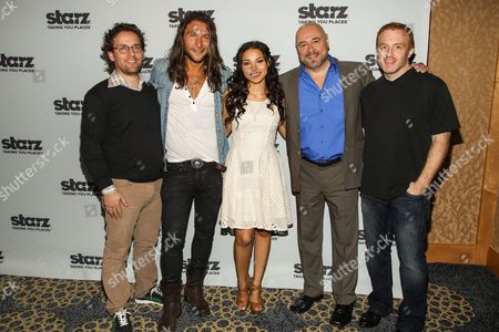"""From left, co-creator Robert Levine, actors Zach McGowan, Jessica Parket Kennedy, Mark Ryan, and co-creator Jon Steinberg attend the """"Black Sails"""" press line on Day 3 of 2013 Comic-Con International Convention, in San Diego"""
