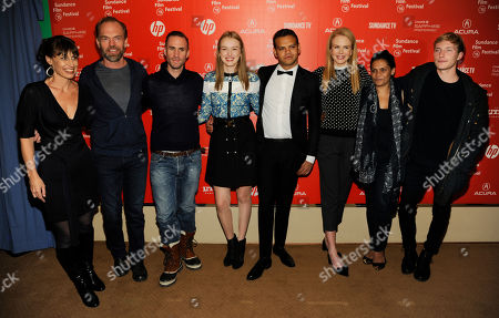 "Kim Farrant, far left, director of ""Strangerland,"" poses with cast members, left to right, Hugo Weaving, Joseph Fiennes, Maddison Brown, Meyne Wyatt, Nicole Kidman, Lisa Flanagan and Sean Keenan at the premiere of the film at the Egyptian Theatre during the 2015 Sundance Film Festival, in Park City, Utah"