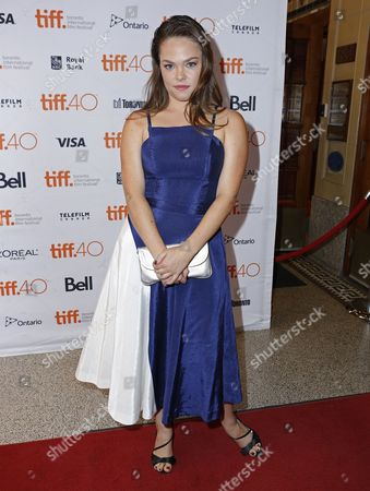 "Claire Glassford attends the premiere for ""The Family Fang"" on day 5 of the Toronto International Film Festival at Winter Garden Theatre, in Toronto"