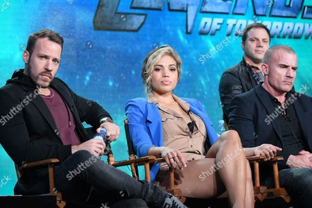 Actors Falk Hentschel, from left, Ciara Renee and Dominic Purcell participate in a panel at the The CW 2016 Winter Television Critics Association, in Pasadena, Calif