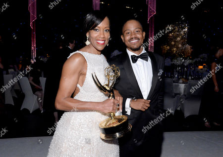 Regina King, left, and Ian Alexander, Jr. attend the Governors Ball for the 67th Primetime Emmy Awards at the Los Angeles Convention Center, in Los Angeles