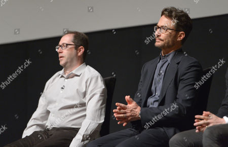 Executive producers, Craig Silverstein, left, and Barry Josephson speak on stage at AMC's TURN panel at the Academy of Television Arts & Sciences, in North Hollywood, Calif