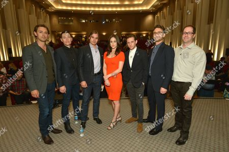 JJ Feild, and from left, Burn Gorman, Seth Numrich, Heather Lind, Jamie Bell, and executive producers Barry Josephson and Craig Silverstein attend AMC's TURN panel at the Academy of Television Arts & Sciences, in North Hollywood, Calif