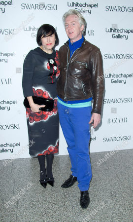 Alice Rawsthorn and Philip Treacy arrive at the Swarovski Whitechapel Gallery Art Plus Fashion Gala, a fundraising collaboration with Swarovski that celebrates the fusion of art and fashion, at the east London Gallery