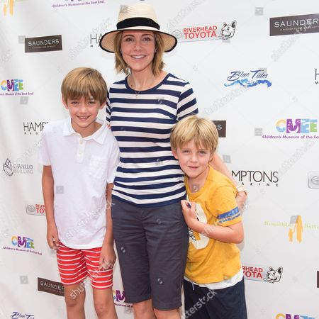 L-R) William Stoddard Lawrence, Christa Miller and Henry Vanduzer Lawrence attend The Children's Museum of the East End's 6th Annual Family Fair in Bridgehampton, in New York