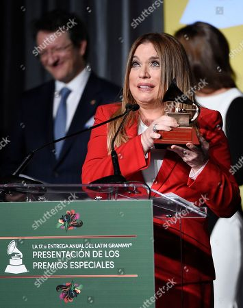 Stock Photo of Honoree Ednita Nazario accepts her award onstage at the 2016 Latin Grammy Special Merit Awards at the Four Seasons Hotel, in Las Vegas