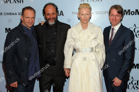 "Ralph Fiennes, from left, Luca Guadagnino, Tilda Swinton and David Kajganich attend a special screening of ""A Bigger Splash"" at the Museum Of Modern Art, in New York"
