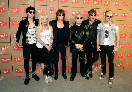"""From left, recording artists Matt Katz-Bohen, Deborah Harry, Leigh Foxx, Chris Stein, Clem Burke and Tommy Kessler of the band Blondie attend the Ray-Ban """"District 1937"""" Collection launch event, in New York"""