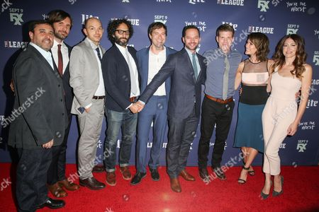 """Jeff Schaffer, from left, Jon Lajoie, Paul Scheer, Jason Mantzoukas, Mark Duplass, Nick Kroll, Stephen Rannazzisi, Katie Aselton and Jackie Marcus Schaffer of """"The League"""" arrives at the Red Carpet Premiere Event of """"The League"""" and """"You're the Worst"""" at the Bruin Theatre, in Los Angeles"""