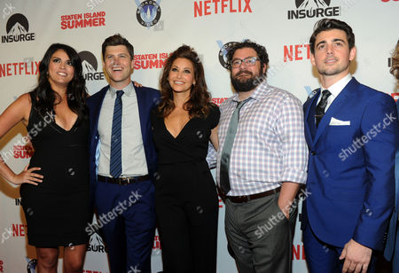 Staten Island Summer cast members Cecily Strong, Colin Jost, Gina Gershon, Bobby Moynihan and John DeLuca, left to right, celebrate the premiere of their movie at Sunshine Cinema, in New York. The new comedy debuts on Netflix on July 30, 2015 and is available for Digital download
