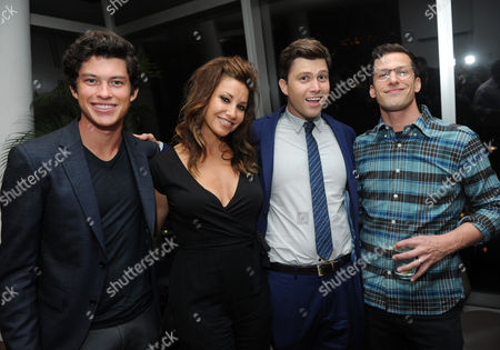 Andy Samberg, right, joins Staten Island Summer cast members Graham Phillips, left, Gina Gershon and Colin Jost at an after party at The Standard, East Village, in New York. The new comedy debuts on Netflix on July 30, 2015 and is available for Digital download