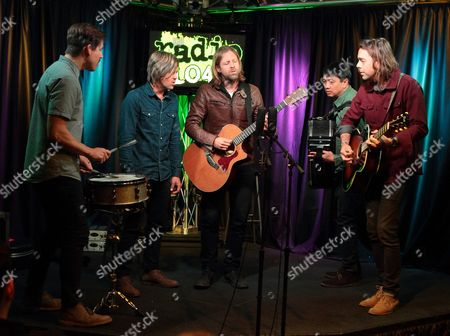 Chad Butler, from left, Tim Foreman, Jon Foreman, Jerome Fontamillas and Drew Shirley of the band Switchfoot visit Radio 104.5 Performance Theater, in Philadelphia