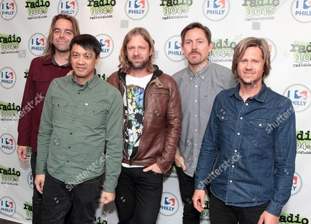 Drew Shirley, from left, Jerome Fontamillas, Jon Foreman, Chad Butler and Tim Foreman of the band Switchfoot visit Radio 104.5 Performance Theater, in Philadelphia