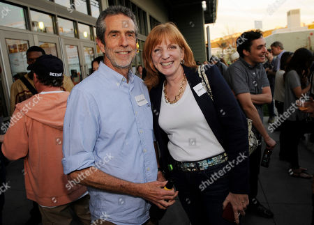 Academy of Television Arts and Sciences members David Jackson and Kim Swanson pose together at the YouTube Space L.A. Tour and Happy Hour, on in Los Angeles