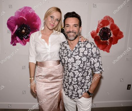 Stylist Tara Swennen, left, and George Kotsiopoulos attend the Vestiaire Collective VIP Cocktail Party hosted by Johnny Wujek at Eric Buterbaugh Flower Design on in Los Angeles