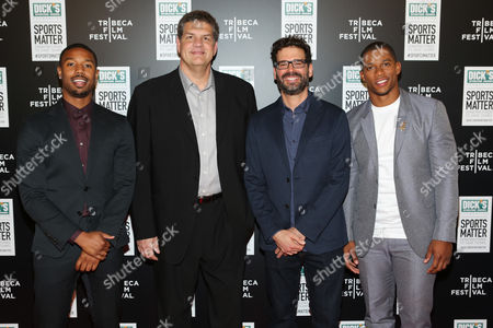 L-R] Actor Michael B Jordan, ESPN personality Mike Golic Director Judd Ehrlich and NY Giant Victor Cruz arrive at 'We Could Be King' Premiere at the Sunshine Cinema on in New York, NY