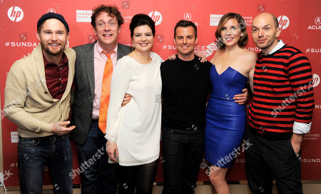 """Chris Nelson, third from right, director of """"Ass Backwards,"""" poses with cast members, from left, Brian Geraghty, Drew Droege, Casey Wilson, June Diane Raphael and Paul Scheer at the premiere of the film, in Park City, Utah"""