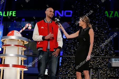 Robert Sacre and Erin Andrews attend the 6th annual Holiday Tree Lighting at L.A. LIVE and opening of LA Kings Holiday Ice to kick off AEG's Season of Giving presented by Coca-Cola, in Los Angeles