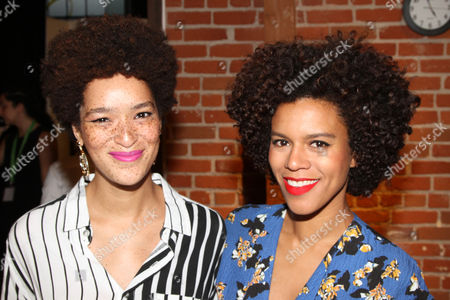 "LA Beauty Bloggers Nikia Phoenix, left, and Grasie Mercedes seen at DevaCurl's Celebration of ""Curls Night Out"" at Devachan Salon, in Los Angeles, CA"
