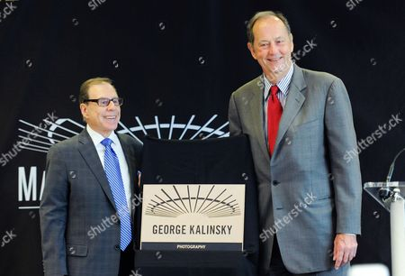 Stock Photo of Photographer George Kalinsky, left, is inducted into the Madison Square Garden 2015 Walk of Fame by Bill Bradley, in New York
