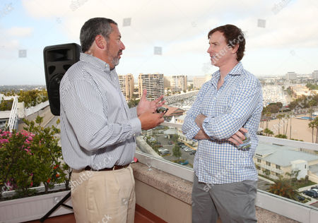 Millennium Entertainment President Steve Nickerson and Rob Huebel attend Millennium's 2013 EMA Party on in Marina Del Rey, California