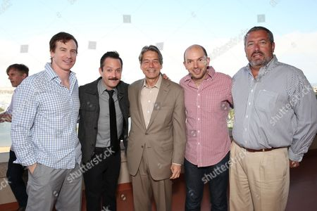 Rob Huebel, Thomas Lennon, Millennium Entertainment CEO Bill Lee, Paul Scheer and Millennium Entertainment President Steve Nickerson attend Millennium's 2013 EMA Party on in Marina Del Rey, California