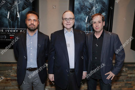 """Founder of WildLeaks Andrea Crosta, Executive Producer Paul G. Allen and Producer/Co-Director Kief Davidson seen at Netflix Special Screening of """"The Ivory Game"""" at Ipic, in Los Angeles, CA"""