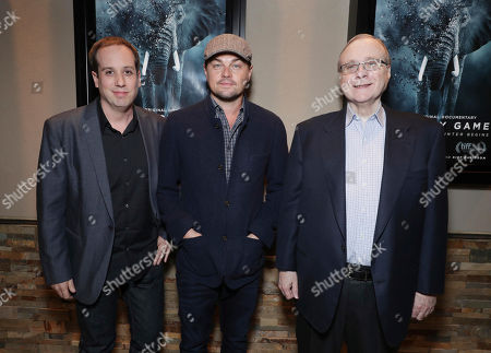 """Producer/Co-Director Kief Davidson, Executive Producer Leonardo DiCaprio and Executive Producer Paul G. Allen seen at Netflix Special Screening of """"The Ivory Game"""" at Ipic, in Los Angeles, CA"""
