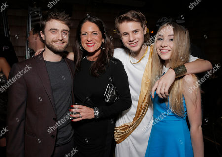 "Daniel Radcliffe, producer Cathy Schulman, actor Mitchell Kummen and actress Sabrina Carpeenter at the after party for a special screening of Radius-TWC's ""Horns"" presented by PAX by Ploom at Wood & Vine on in Hollywood, Calif"