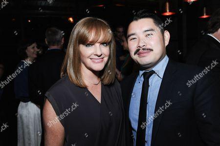 "Producer JL Pomeroy, left, and director Bao Nguyen attend the after party for the Los Angeles Premiere Of ""Live from New York!"" at Hinoki & the Bird, in Los Angeles"