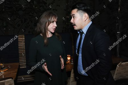 "Actress Laraine Newman, left, and director Bao Nguyen attend the after party for the Los Angeles Premiere Of ""Live from New York!"" at Hinoki & the Bird, in Los Angeles"