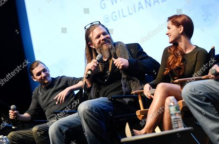 """Actors Ryan Hurst, center, Kyle Gallner, left, and Gillian Alexy attends the WGN America world premiere screening of """"Outsiders"""", during the New York Television Festival at the SVA Theatre, on in New York"""