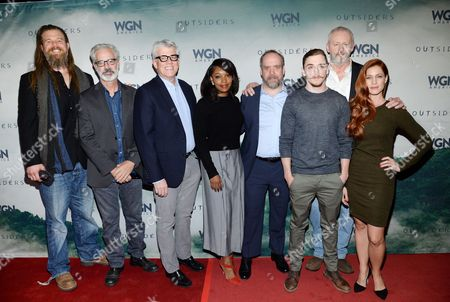 "Actor Ryan Hurst, creator and executive producer Peter Mattei, executive producer Peter Tolan, actor Christina Jackson, executive producer Paul Giamatti, actor Kyle Gallner, actor David Morse, actor Gillian Alexy attend the WGN America world premiere screening of ""Outsiders"", during the New York Television Festival at the SVA Theatre, on in New York"