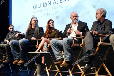 """Panelists, from left, actors Kyle Gallner, Ryan Hurst, Gillian Alexy, David Morse and creator and executive producer Peter Mattei attend the WGN America world premiere screening of """"Outsiders"""", during the New York Television Festival at the SVA Theatre, on in New York"""