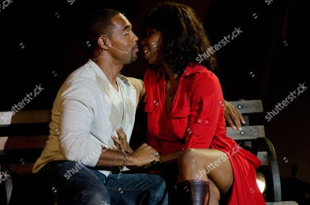 Jason George, left, and Nicki Micheaux perform at WordTheatre presents Storytales at FordAmphitheatre on Saturday, Oct, 6, 2012, in Los Angeles, California
