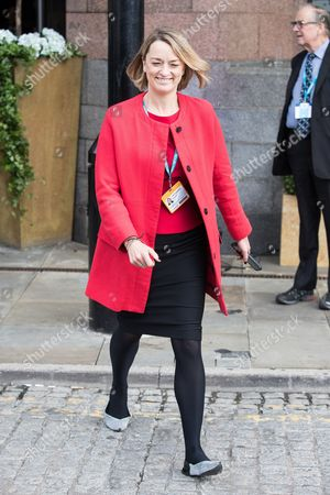 BBC politics journalist Laura Kuenssberg leaves the Midland Hotel, on day three of the Conservative Party Conference at the Manchester Central Convention Centre.