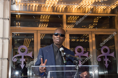 Saxophonist Maceo Parker speaks at the Apollo Theater Walk of Fame induction ceremony honoring Prince, in New York. Prince died at his home on April 21, in suburban Minneapolis. He was 57