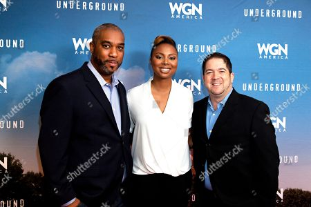 "Mike Jackson, Joe Pokaski, and Misha Green, seen at the First-Look Screening and Panel Discussion for WGN America's ""Underground"" at the National Civil Rights Museum, on in Memphis, Tenn"