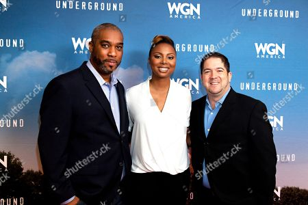 "From left, Mike Jackson, Joe Pokaski and Misha Green seen at the first-look screening and panel discussion for WGN America's ""Underground"" at the National Civil Rights Museum, on in Memphis, Tenn"