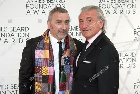 Restauranteurs Cesare Casella, left, and Julian Niccolini, arrive at the James Beard Foundation Awards Gala, in New York