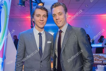 "Paul Dano, left, and Jake Abel attend the LA Premiere Of ""Love & Mercy"" After Party at the Samuel Goldwyn Theater, in Beverly Hills, Calif"