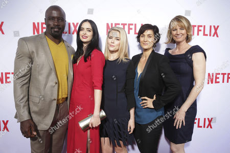 """Mike Colter, Krysten Ritter, Rachael Taylor, Carrie-Anne Moss and Creator/Exec. Producer Melissa Rosenberg seen at Netflix original series """"Marvel's Jessica Jonesâ?? TV Academy FYC event at the Paramount Theatre, in Los Angeles"""