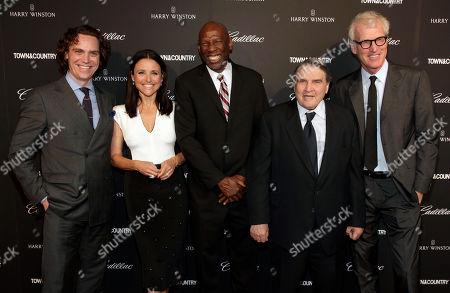"From left, Jay Fielden, actress Julia Louis-Dreyfus, Geoffrey Canada, William Louis-Dreyfus and Brad Hall attend a screening of ""Generosity of Eye"", in New York"