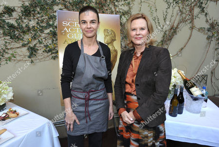 Chef Suzanne Goin and SAG president JoBeth Williams pose for photographers at the Screen Actor's Guild Awards menu tasting event at Lucques restaurant, in Los Angeles