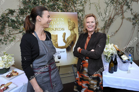 Stock Photo of Chef Suzanne Goin and SAG president JoBeth Williams pose for photographers at the Screen Actor's Guild Awards menu tasting event at Lucques restaurant, in Los Angeles