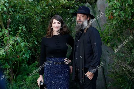 Sebastien Tellier and his wife Amandine de la Richardiere pose at Chanel Spring-Summer 2018 ready-to-wear fashion collection, in Paris