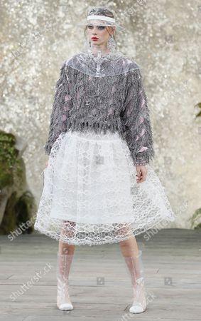 Stock Image of Lauren de Graaf on the catwalk