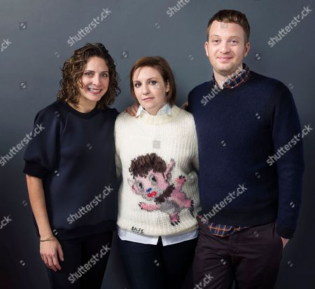"""Producer Stacey Reiss, from left, Lena Dunham and director Matt Wolf pose for a portrait to promote the film, """"It's Me, Hilary: The Man Who Drew Eloise"""", at the Eddie Bauer Adventure House during the Sundance Film Festival, in Park City, Utah"""