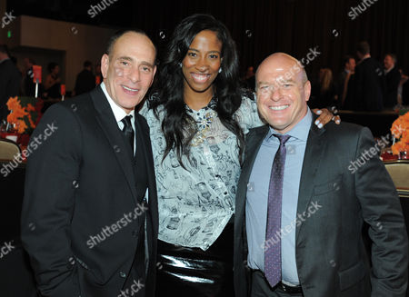 From left, Nestor Serrano, Shondrella Avery, and Dean Norris attend the CoachArt Gala of Champions held at The Beverly Hilton, in Beverly Hills, Calif